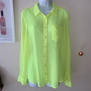Sheer Neon Citron Blouse